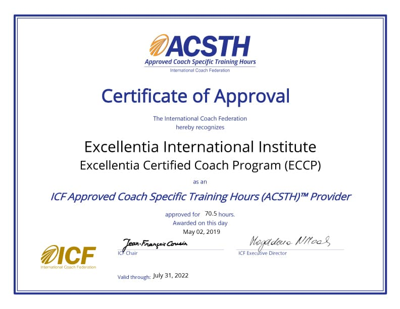 Approved Coach Specific Training Hours certificate of approval